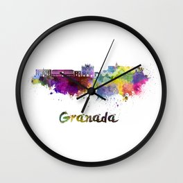 Granada skyline in watercolor. Wall Clock