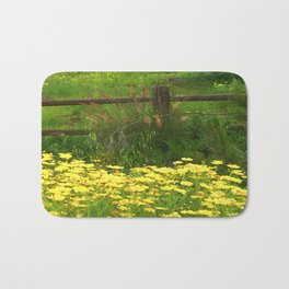 Daisies and Plumes at the Split Rail Fence Bath Mat
