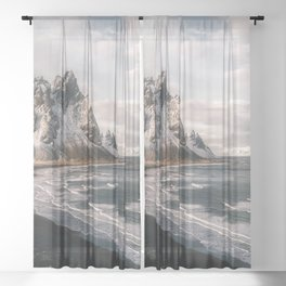 Stokksnes Icelandic Mountain Beach Sunset - Landscape Photography Sheer Curtain