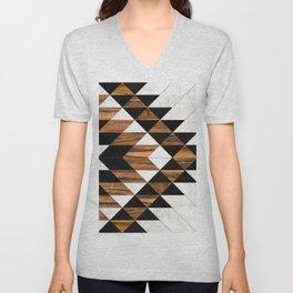 Urban Tribal Pattern 9 - Aztec - Concrete and Wood Unisex V-Neck