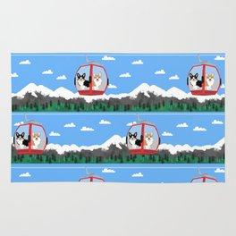 Gondola corgis telluride ski slopes custom dog Rug