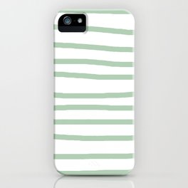 Simply Drawn Stripes Pastel Cactus Green and White iPhone Case