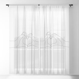 Hand Heart Sheer Curtain