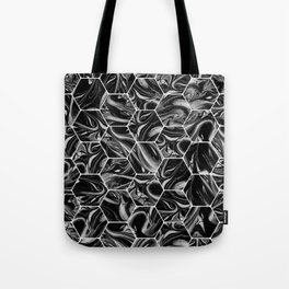 Hex & Swirl - Black and White Marble Pattern Tote Bag