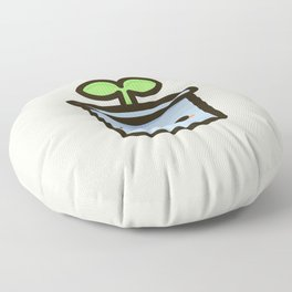 Cute sprout in pot Floor Pillow