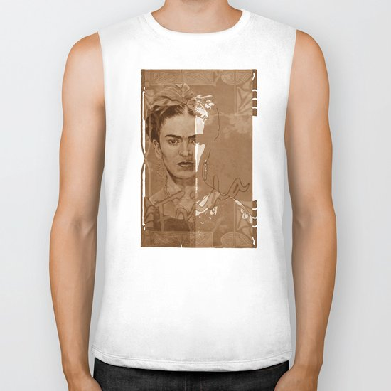 Frida Kahlo - between worlds - sepia Biker Tank