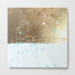 gold, white, mint splotch Metal Print