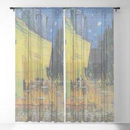 Café Terrace at Night,  Vincent van Gogh Sheer Curtain