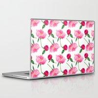 peonies Laptop & iPad Skins featuring Peonies by Inna Moreva