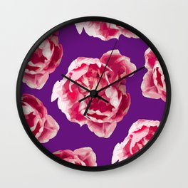 Pink Tulips On A Violet Background #decor #society6 #homedecor #buyart Wall Clock