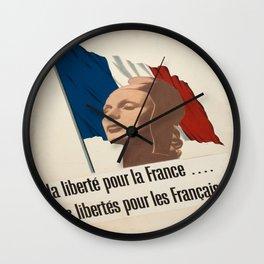 Vintage poster - La Liberte pou la France Wall Clock