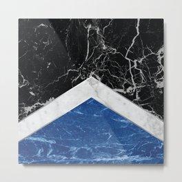Stone Arrow Pattern - Black, White & Blue Marble #227 Metal Print