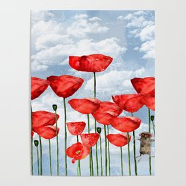 Mouse and poppies on a cloudy day Poster