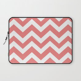 Light coral - pink color -  Zigzag Chevron Pattern Laptop Sleeve