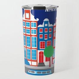 Amsterdam, Netherlands - Skyline Illustration by Loose Petals Travel Mug