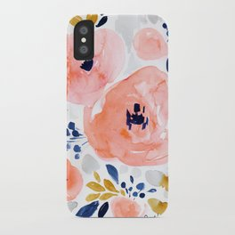 Sweet Blush Floral, gold, gray, blue iPhone Case