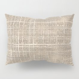 Beige Taupe Brown Jute Burlap Textile Pattern Pillow Sham