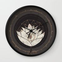 lotus flower Wall Clocks featuring Lotus by Hector Mansilla