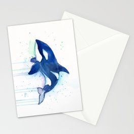 Killer Whale Orca Watercolor Stationery Cards