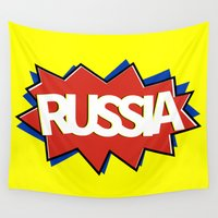 russia Wall Tapestries featuring Russia by mailboxdisco
