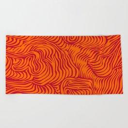 orange red flow Beach Towel