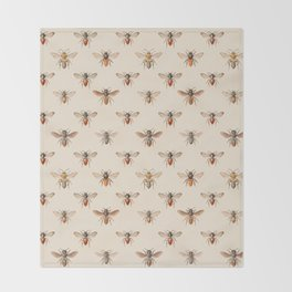Vintage Bee Illustration Pattern Throw Blanket