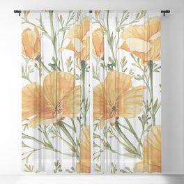 California Poppies - Watercolor Painting Sheer Curtain