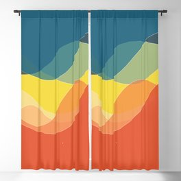 70's and 80's retro colors waves Blackout Curtain