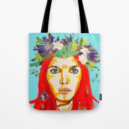 Red haired girl with flowers in her hair Tote Bag