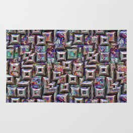 Colorful 3D Abstract Structure Rug