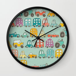 retro rides mint Wall Clock