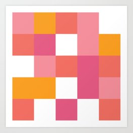 Geometric Tile Pattern in Coral, Pink and Yellow Art Print