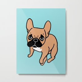 The Cute Black Mask Fawn French Bulldog Needs Some Attention Metal Print