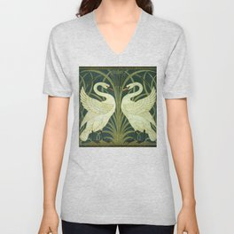 "Walter Crane ""Swan and Rush and Iris wallpaper"" (original) Unisex V-Neck"