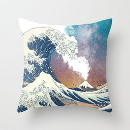 Great Wave Off Kanagawa Surrealism-Mount Fuji Eruption and Starry Sky Throw Pillow