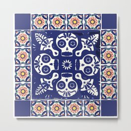 Talavera Mexican tile inspired bold Day of the Dead blue and white pattern Metal Print