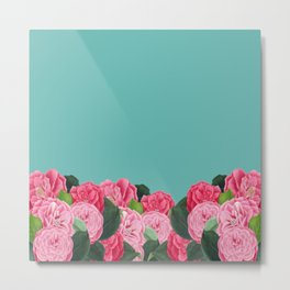 Floral & Turquoise Metal Print