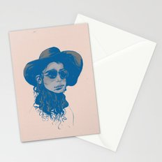 Woman in Hat and Sunglasses Stationery Cards