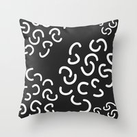 fries Throw Pillows featuring Curly Fries by Astrid Schwarz