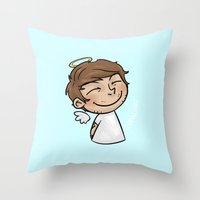 cyrilliart Throw Pillows featuring Emoji Angel: Louis by Cyrilliart
