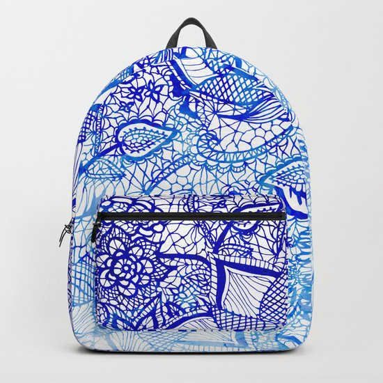 Modern china blue ombre watercolor floral lace hand drawn illustration Backpack