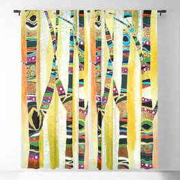 Runk Trees Birch Forest with Nest Blackout Curtain