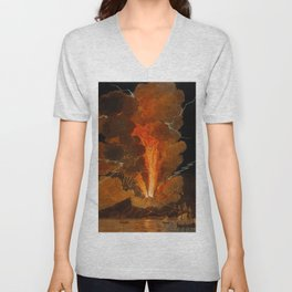 Mount Vesuvius erupting at night, billowing clouds and flashes of lightning Unisex V-Neck