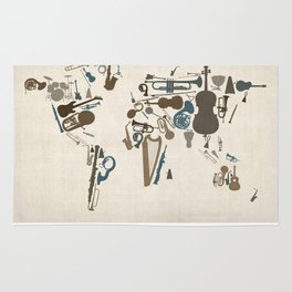 Musical Instruments Map of the World Rug