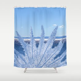 Blue Palm in the sea Shower Curtain