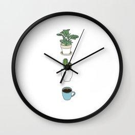 Plants Cactus & Coffee Wall Clock