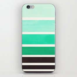 Teal Turquoise Minimalist Mid Century Modern Color Fields Ombre Watercolor Staggered Squares iPhone Skin