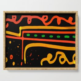 Colored Ethnic Abstract Art Serving Tray