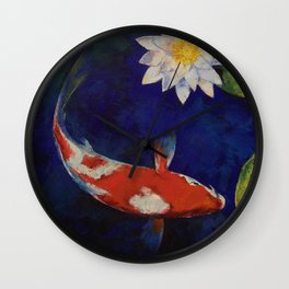 Kohaku Koi and Water Lily Wall Clock