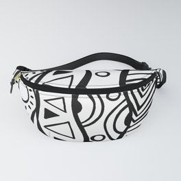 Four Waves - Freestyle Tribal Doodle Design Fanny Pack